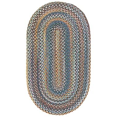 August Grove Phoebe Medium Blue Variegated Rug; Oval 4' x 6'
