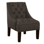 Alcott Hill Ashland Tufted Upholstered Linen Swoop Arm Chair; Charcoal