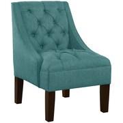 Alcott Hill Ashland Tufted Upholstered Linen Swoop Arm Chair; Laguna