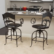 Alcott Hill Cuyahoga Adjustable Height Swivel Bar Stool w/ Cushion (Set of 2)