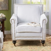 Alcott Hill Reinette Arm Chair; Ivory