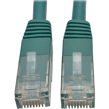 Tripp Lite 10ft Cat6 Gigabit Molded Patch Cable RJ45 M/M 550MHz 24AWG Green (12398094)