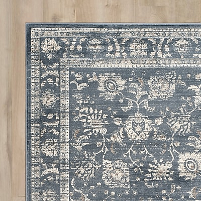 Alcott Hill Bainsby Dark Grey / Cream Area Rug; 8' x 10'