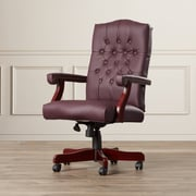 Alcott Hill Kirkland High-Back Leather Executive Chair; Burgundy