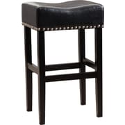 Alcott Hill Shaws 30'' Bar Stool w/ Cushion (Set of 2); Black