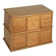 Alcott Hill Carey Modular Multimedia Tabletop 6 Drawer Storage Rack; Oak
