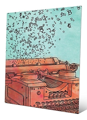 Click Wall Art 'Orange Typewriter Flying Letters' Painting Print on Metal; 14'' H x 11'' W x 1'' D