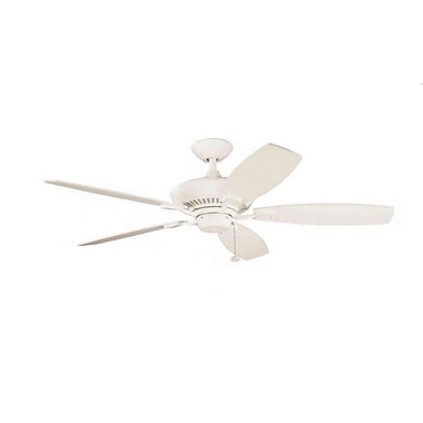 Alcott Hill 52'' Carbondale 5-Blade Fan; Satin Natural White with White Blades