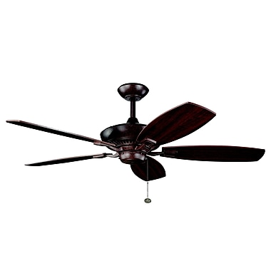 Alcott Hill 52'' Carbondale 5-Blade Fan; Tannery Bronze with Cherry/Teak Blades