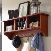 Alcott Hill Bel Air 8 Hook Storage Shelf; Cherry