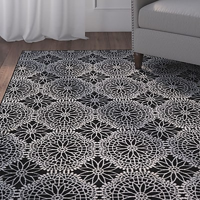 Alcott Hill Eagleview Black Area Rug; Runner 2'10'' x 7'10''