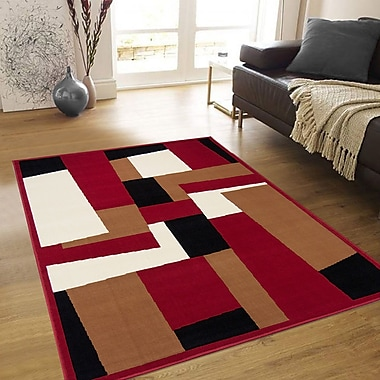AllStar Rugs Hand-Woven Red Area Rug; 5'2'' x 7'1''