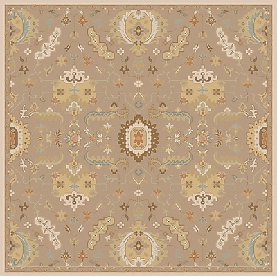 Astoria Grand Kempinski Hand Tufted Beige Area Rug; Square 6'