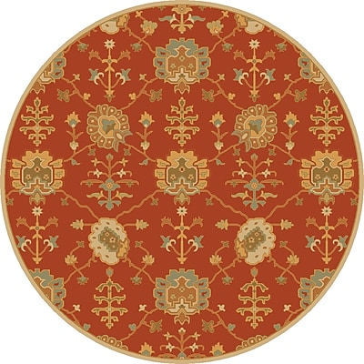 Astoria Grand Kempinski Hand-Tufted Beige/Orange Area Rug; Round 4'