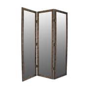 Astoria Grand Sigiriya 72'' x 60'' Mirrored 3 Panel Room Divider; Brown / Gold