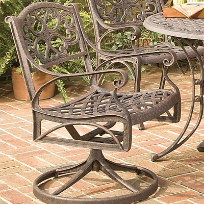 Astoria Grand Van Glider Swivel Patio Dining Chair; Rust Brown