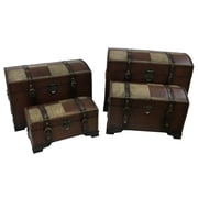 Astoria Grand Stone Castle Faux Leather Indoor Storage Trunks (Set of 4); Mix Pattern