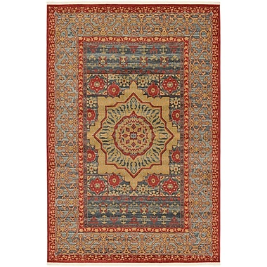 Astoria Grand Laurelwood Navy Red Area Rug; 6' x 9'