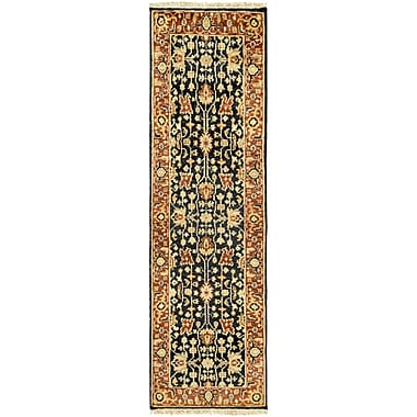 Astoria Grand Barlett Hand-Knotted Burnt Orange/Black Area Rug; Runner 2'6'' x 8'