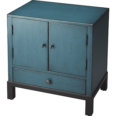 Astoria Grand Copley 1 Drawer Cabinet; Distressed Blue
