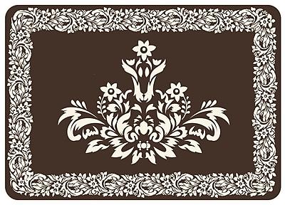 Astoria Grand Justina Falcon Crest Border Kitchen Mat; Chocolate