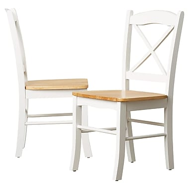 August Grove Cara Side Chair (Set of 2); White / Natural