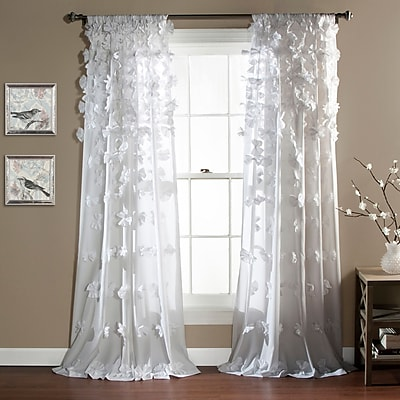 August Grove Harrietta Light-Filtering Single Curtain Panel; White