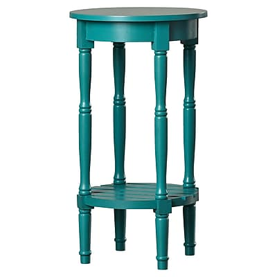 August Grove Maurice Round End Table; Blue