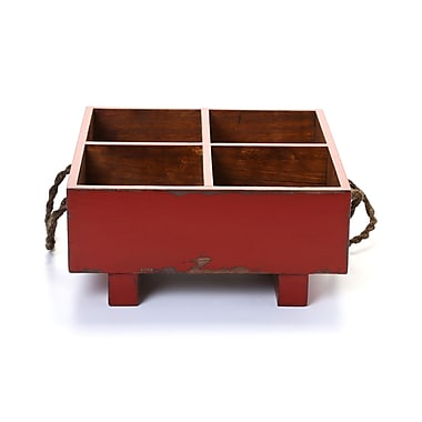 August Grove Ira Distressed Square Milk Crate w/ Rope Handles; Red