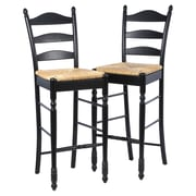 August Grove Erma 30'' Ladder Back Bar Stool (Set of 2); Black