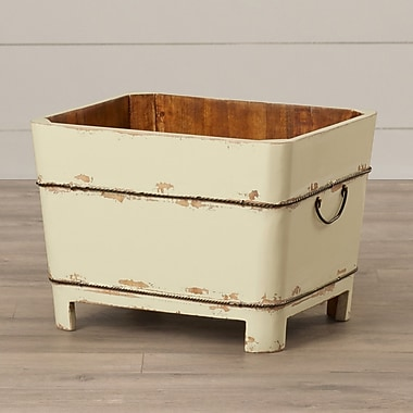 August Grove Distressed Chinese Square Sink Bucket w/ Iron Handles; Butter