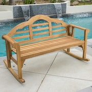 August Grove Newington Acacia Rocking Bench