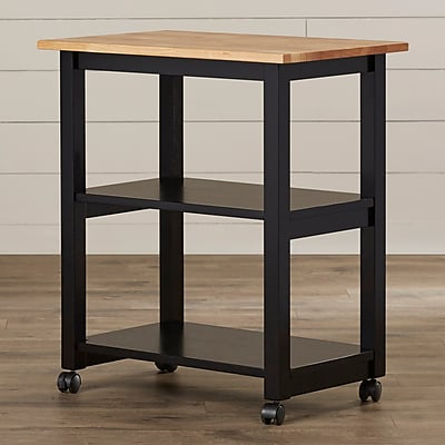 August Grove De Soto Kitchen Cart w/ Butcher Block Top; Black
