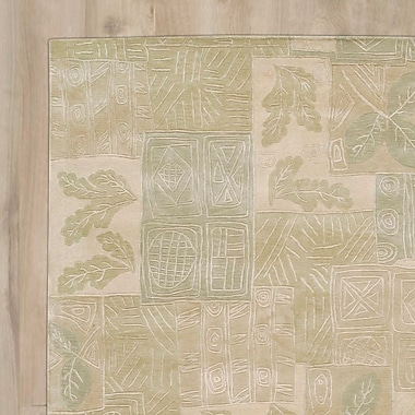 August Grove Claxton Hand-Tufted Beige/Green Area Rug