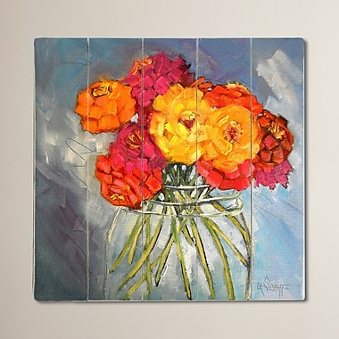 August Grove Zinna Bouquet by Carol Schiff Painting Print Plaque; 30'' H x 30'' W x 0.75'' D