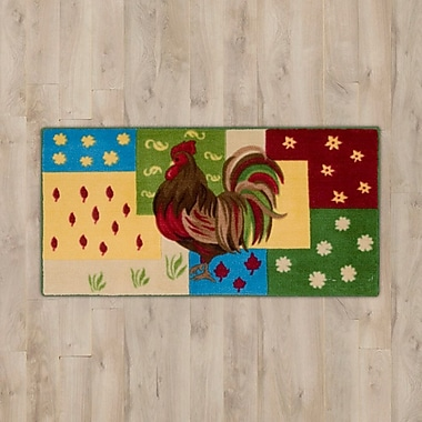 August Grove Lyn Rooster Green/Red Area Rug; 1'10'' x 3' 4''