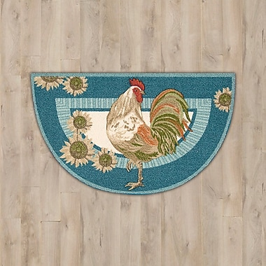 August Grove Caddie Blue Rooster Area Rug