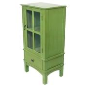 August Grove Hampton Wooden Cabinet w/ Glass Insert; Green
