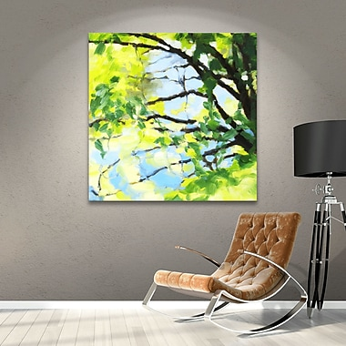 August Grove Bright Tree And Blue Painting Print on Wrapped Canvas; 18'' H x 18'' W x 2'' D