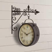 August Grove Metal Outdoor Double Clock Decor