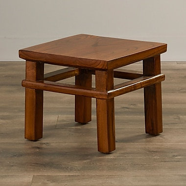 August Grove Ira Square Step Accent Stool; Natural