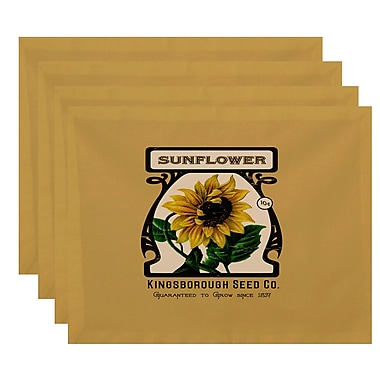 August Grove Swan Valley Sunflower Floral Print Placemat (Set of 4); Gold