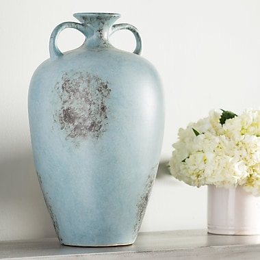 August Grove Handcrafted Blue Vase