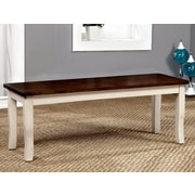 August Grove Marilou Wood Dining Bench; Vintage White