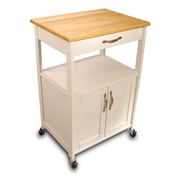 August Grove Allie Kitchen Cart w/ Wood Top; White