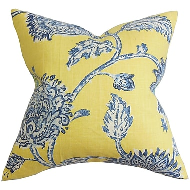 August Grove Filomena Floral Throw Pillow Cover; Blue Yellow
