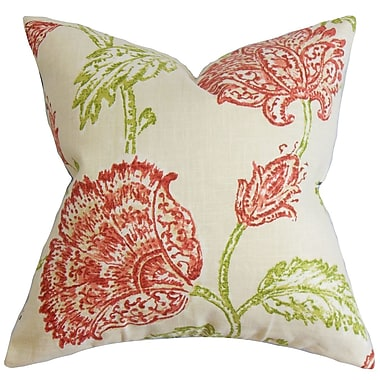 August Grove Filomena Floral Throw Pillow Cover; Natural Pink