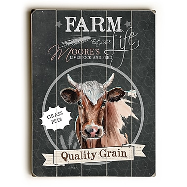 August Grove Farm Quality Grain Cow Wooden Textual Art; 34'' H x 25'' W x 1'' D