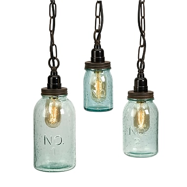 August Grove Norgate 3 Piece Mason Jar Mini Pendant Set (Set of 3)