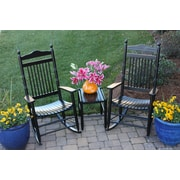Dixie Seating 3 Piece Adult Rocking Chair & Table Set; Black
